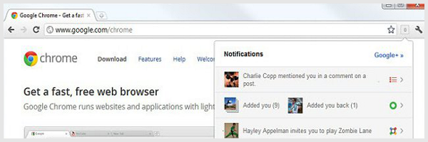 Extension Chrome : Notifications Google+