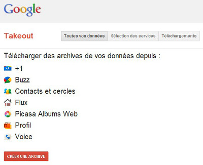 google-takeout : Sélection