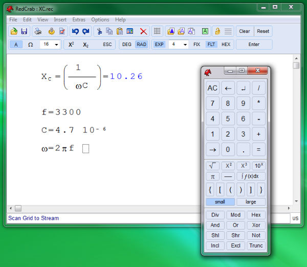 RedCrab: Calculatrice scientifique portable pour Windows