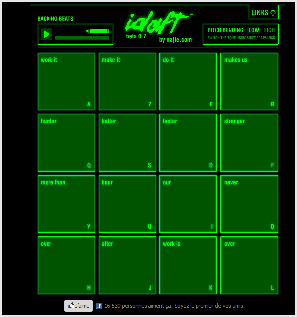 Image de la console de sampler totalement dédiée au titre « Harder Better Faster Stronger » du groupe Daft Punk.