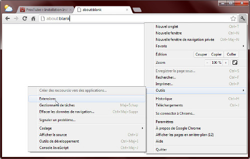 Installer une extension ne provenant pas du Chrome Web Store - Ouvrir la page de gestion des extensions de Chrome