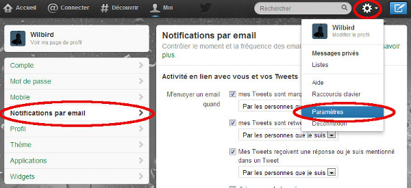 Annuler les notifications par mail de Twitter