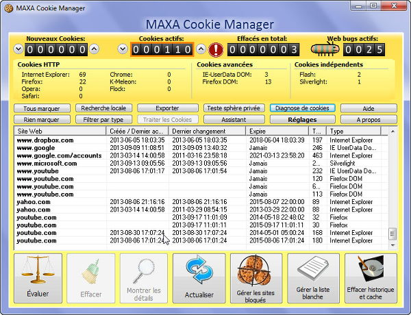 Examiner et nettoyer les cookies : Maxa Cookie Manager pour Windows