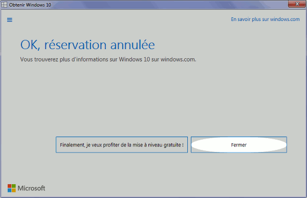 Comment annuler la réservation de Windows 10 - bouton fermer