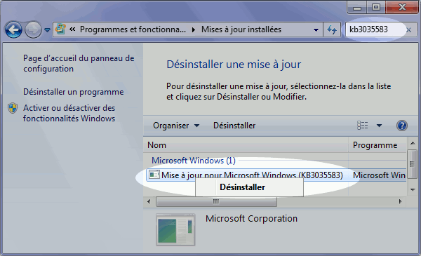 Supprimer la notification « Obtenir Windows 10 » - Desinstaller une mise a jour