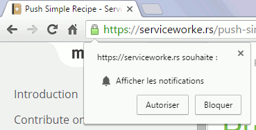 Chrome : message Afficher les notifications Push