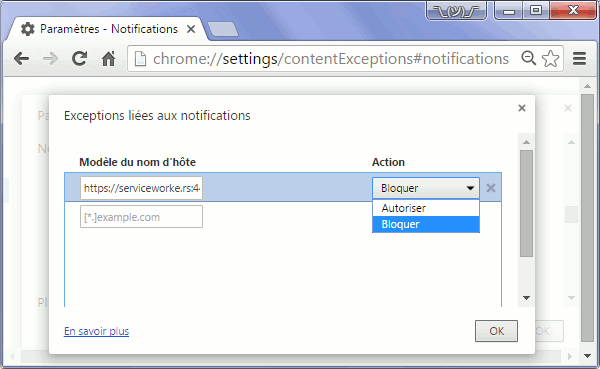 Chrome : exceptions liées aux notifications Push