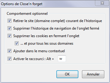 Options de Close'n forget, l'extension Firefox qui efface les traces de navigation