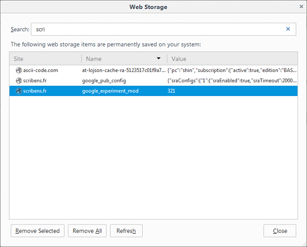 Extension Web Storage Viewer pour Firefox