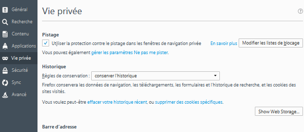 Le bouton Web Storage Viewer