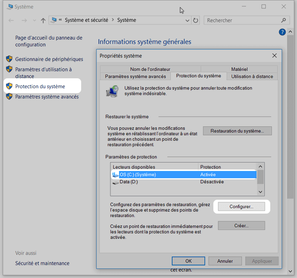 Windos 10 : protection du systeme
