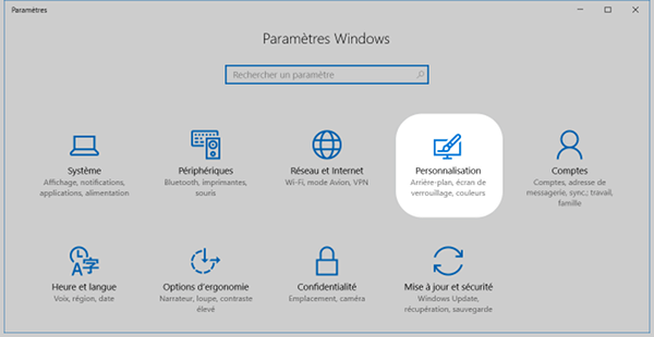 Menu Personnalisation de Windows 10