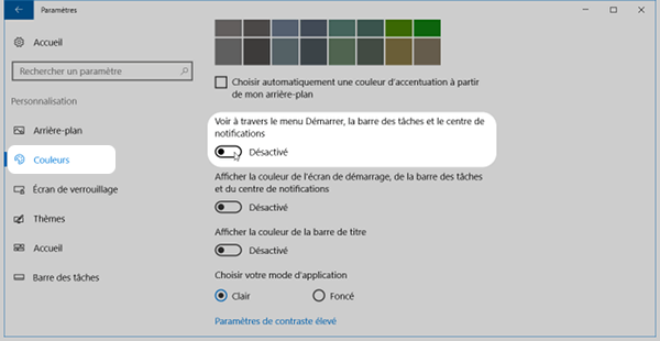 Régler la transparence de la barre des tâches de Windows 10